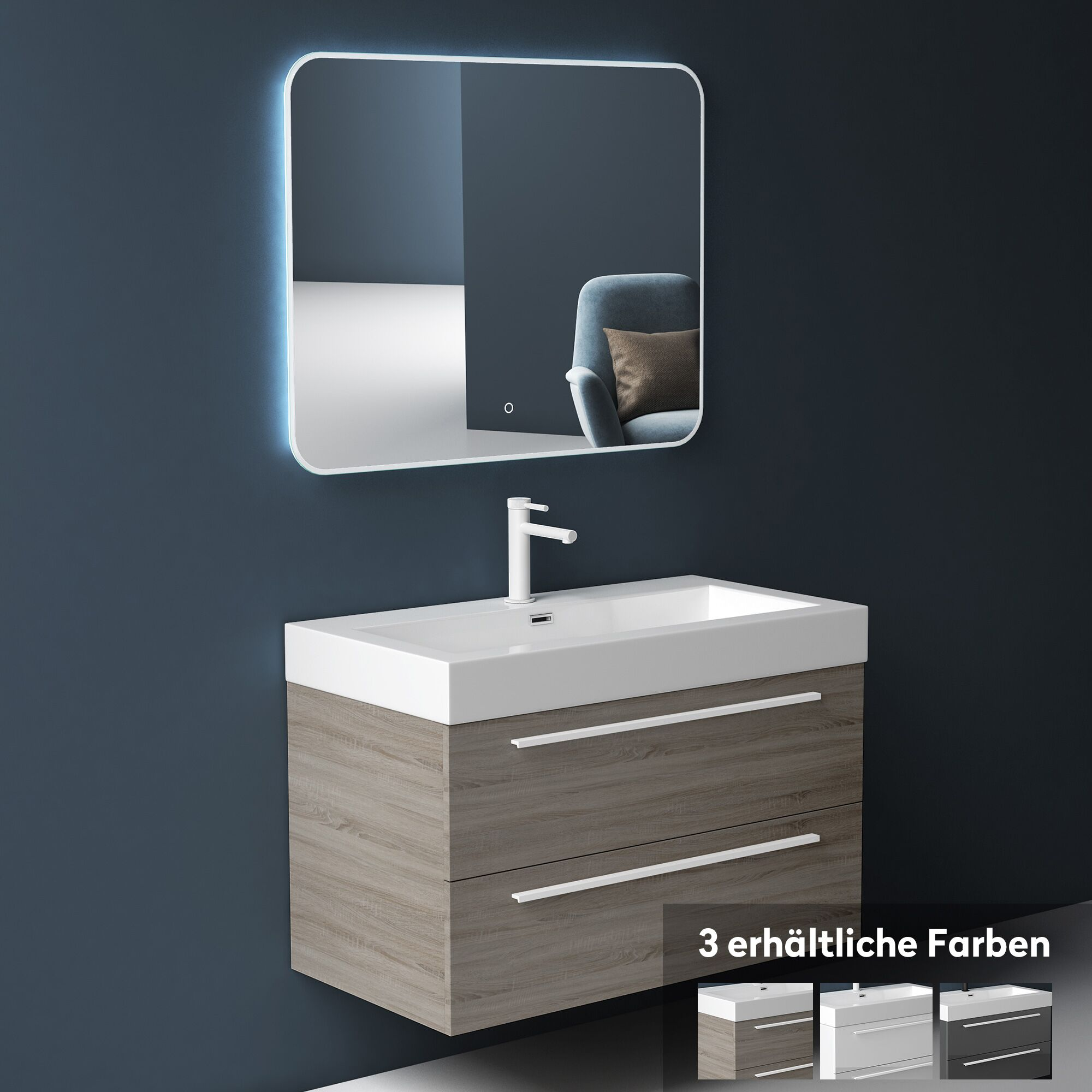 Badmöbel Set Badezimmermöbel Waschtisch Waschbecken Unterschrank