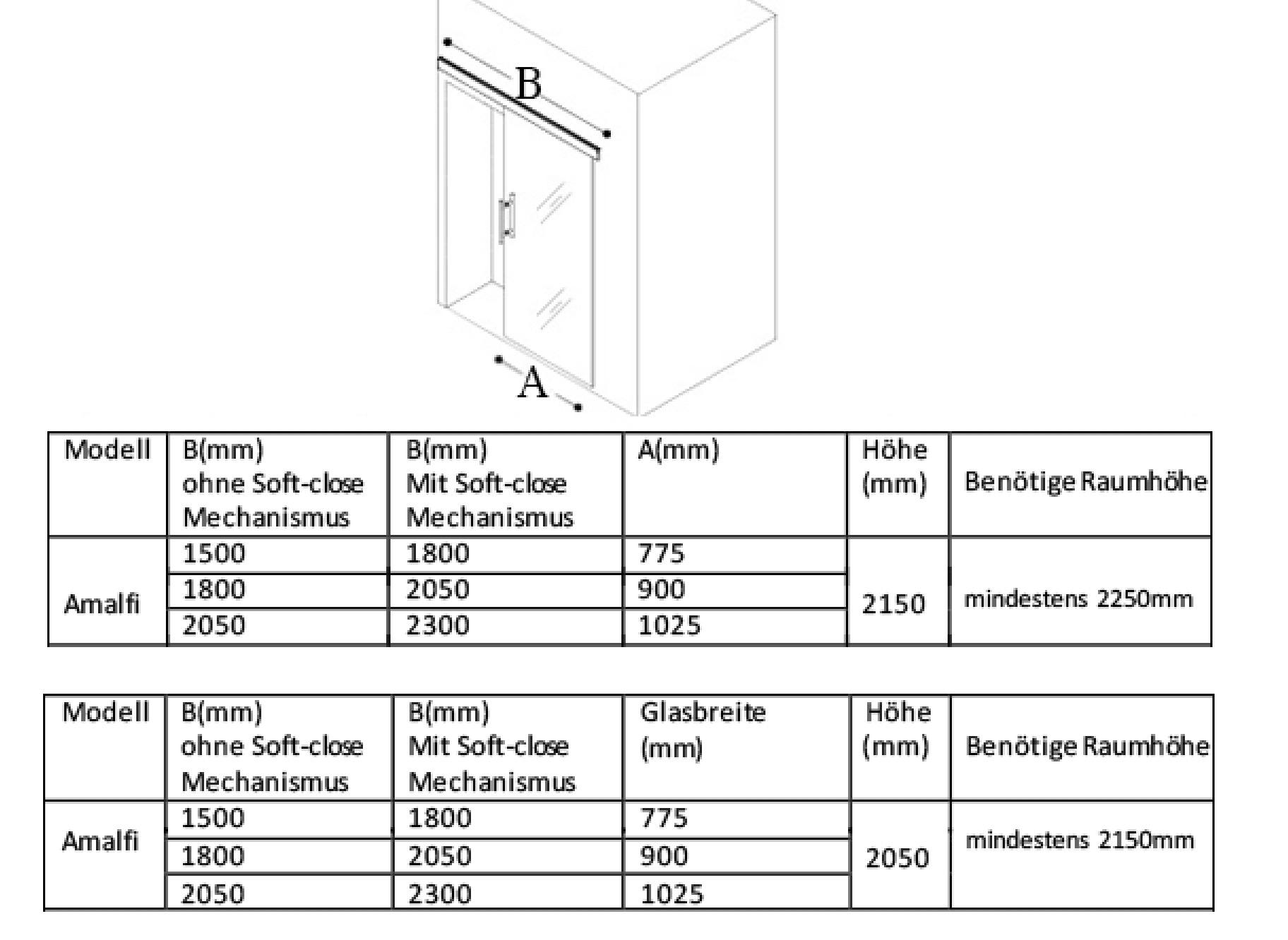 Glas-Schiebet/ür Set mit Softclose Klar 2150mm x 1050mm x 8mm Schiebet/üre Schiebet/ür Glast/ür Innent/ür Zimmert/ür B/ürot/ür